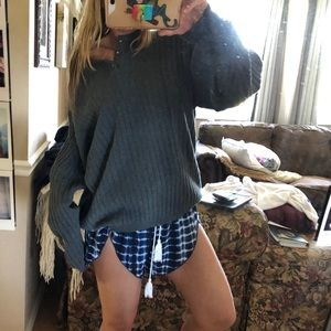 oversized charcoal henley chunky sweater knit